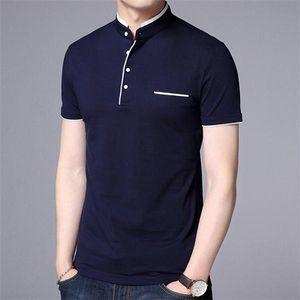 Mens Tees Summer Men Casual Short Sleeve Sweatshirt T Shirt Male Mandarin Collar Cotton Slim Fit Tops Tees Clothing