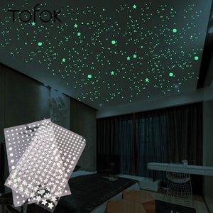 Tofok 3D Bubble 202pcs set Stars Dots Luminous Wall Sticker DIY Bedroom Kids Room Decal Glow in Dark Fluorescent Home Decoration