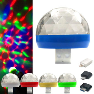 Mini 4LED Rotating Ball USB LED Stage Colorful Light For Car DJ Party Projector Lamp With Phone Connector