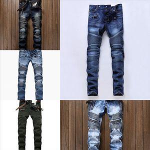 P2P Distressed Elastizität Mode Pierre Straight Jeans Jeans Herren Biker Jeans Loch Stretch Denim Casual Jean Männer Skinny Hose Frankreich