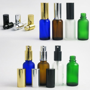 360 x 30ml Empty Cobalt blue Amber Green Transparent Frost Glass Essence Oil Bottle With Lotion Pump 1OZ Shampoo Cream Vials