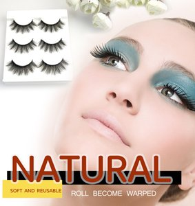 [Eyelash set for makeup-001]3 Pairs Natural Soft Eye Lashes Handmade Thick Long Fake Cross False Eyelashes