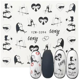 100 Sheet lot Fashion Sexy Girl Nail Art Charm DIY Watermark Decals Nail Art Sticker NEW Polish Foil Slider Decoration Accessories