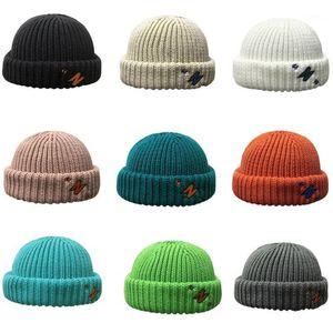 Unisex Winter Knit Beanie Hat Color Color Color Border Border Docker Skull Cap 50PF1