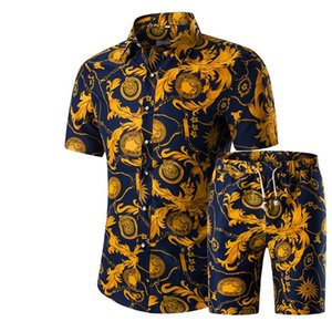 2020 new shirt suit foreign trade combination large size short-sleeved shirt printed shirt t-shirt male summer new t-shirt