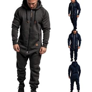 Männer Solide Splicing Overall Street Casual Male Zipper Hoodies Overalls Male Einteilige Playsuit Jumpsuits Hoodys