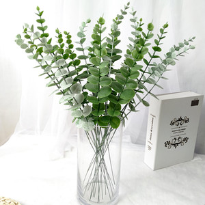 50pc lot Green Eucalyptus Leaf Artificial Plants Wall Decoration Home Garden Wedding Scene Bridal Bouquet Garlands Road Lead C0930