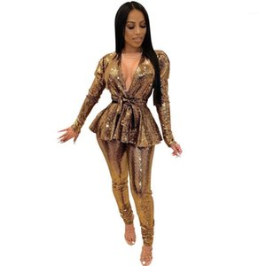 Sexy Party Birthday Club Outfits Glitter Two Piece Skirt Set Women Halter Backless Crop Top + Side Split Chain Mini Skirt Suits1