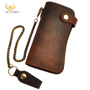 Männliche Qualitätsleder Dargon Tiger Embus Mode Checkbook Eisen Kette Organizer Brieftasche Geldbörse Design Clutch Handtasche 1088-db Q1110