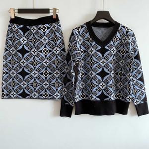 2020 Kadın İki Adet Elbiseler Moda Sonbahar ve Kış Triko + Elbise Suits Günlük Bayan Elbise Yüksek Kaliteli Giyim Setleri