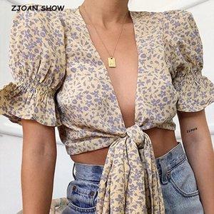 2020 Primavera Vintage Yellow Floral Stampa Camicia retrò manica corta Bandage Bow Breve V-Collo Lacancellatura Su Up Tie Bow Cardigan Blusa1