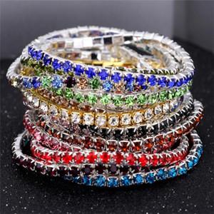 3.5MM One Row Rhinestones stretch bracelets 16 colors Crystal tennis bangle bracelet For women&Ladies Fashion Jewelry Cheap wholesale .