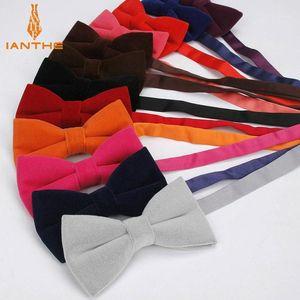 Ianhe novo homem sólido cor sólido velvet gravata terno de cor doces bowtie para homem masculino gravatas moda borboleta gravatas1