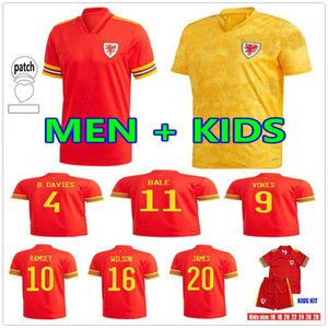 2020 2021 Galles Football Jerseys National Team National Home Bale James James Ramsey Hommes Enfants Maillot de Football Chemises Camiseta de Fuol Uniforme