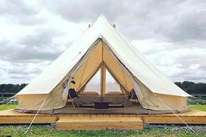الخيام والملاجئ 5M الفاخرة اللامع القطن قماش جرس خيمة خيمة في الهواء الطلق