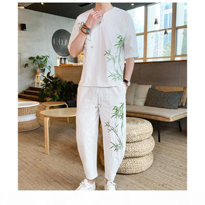 Sinicism Store Bamboo Embroidery Tracksuit Men 2019 Mens Summer Linen Sweatsuits Male Streetwear Chinese Vintage 2 Piece Sets