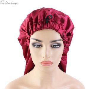 New Oversized Elastic Satin Barrel Silk Long Hair Bonnet Breathable Sleeping Cap Turban Sleep Headwear Hats for Adult