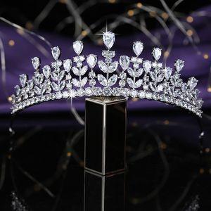 Crown HADIYANA Trendy Leaf Shape Tiara Women Wedding Hair Accessories Cubic Zirconia Luxury Jewelry HG0039 Couronne De Mariage