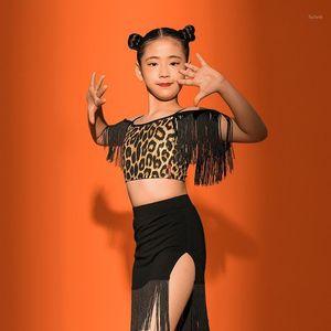 Latin dans uygulamaları çocuklar için yaz saçak kostümleri latin rekabet kızlar için tops rumba tango Samba Dancewear VO12181