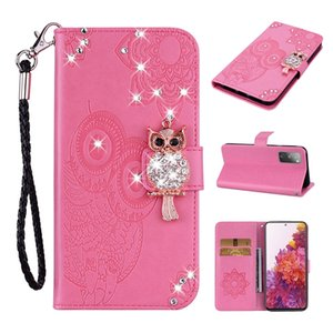 Glitter Sparkly Gems OWL Wallet Leather Case For Samsung S20 FE 5G A01 Core A42 M51 MOTO EDGE G9 PLUS One Fasion Plus Strap Stand book Cover
