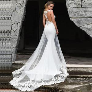 Hochzeit Strandkleider 2021 Exquisite Spitzenapplikationen Meerjungfrau Brautkleider Custom Made Plus Size Sweep Train Tüll Brautkleider