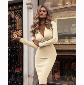 2019 Plus Size Women Bandage Bodycon Dress Office Lady Clothes Summer Long Sleeve V Neck Sexy Party Cocktail Short Dress1