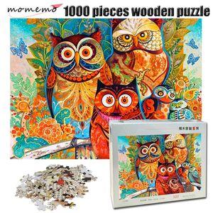 MomeMo Сова семья головоломки 1000 штук деревянные взрослые головоломки цвет абстрактные росписью головоломки для детей образовательный подарок игрушек Y200421