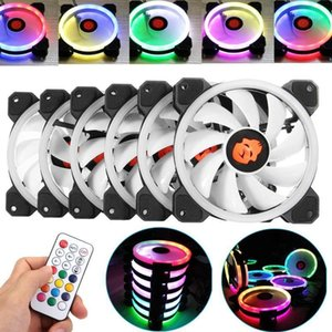 6pcs PC Cooling Fan RGB Cooling Fan Adjust LED 120mm Quiet IR Remote Computer Cooler RGB Case For Computer Case CPU1
