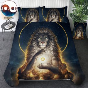 Soul Keeper by JoJoesArt Bedding Set Lion God In The Sky Duvet Cover Set Golden Bed Cover 3-Piece Noble and Holy Bedclothes