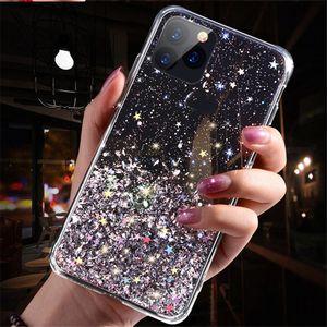 Glitter Payetler telefon vakalarını iphone 12 pro maksimum telefon kılıfları kapak iphone için yumuşak silikon 12 vaka tasarımcıları 11 x xr maksimum 8 coque iphone 11 xs