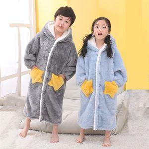 Enfants Flanelle peignoir douche fille molleton pyjama de nuit bébé garçon hiver Hooded Towel Robes Ados pyjamas chauds Chemise de nuit