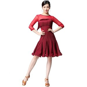 New Women Latin Dance Costume Competition Dress Party Jazz Ballroom Salsa Fringes Latin Dresses