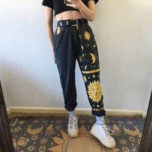 DUUTI Vintage High Waist Straight Jeans Pants for Women Sun Moon & Stars Print Streetwear Loose Female Denim Ladies Jeans 201014