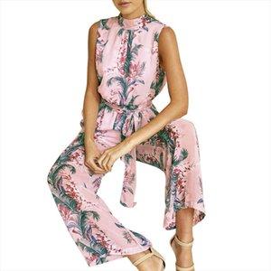 women tracksuit Women Chiffon Floral Printed Backless Bandage Wide Leg Pants Sleeveless Clothes Drop Shipping