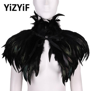 Gothic Victorian Feather cape shawl scarf feather Choker Gothic wraps poncho stole collar Halloween cosplay Costume rave Party