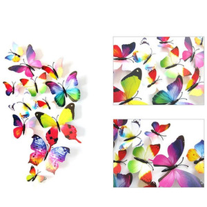 12pcs 3d Butterfly Wall Sticker Pvc Simulation Stereoscopic Butterfly Mural Sticker Fridge Magnet Art Decal Kid Roo jllUtW yummy_shop