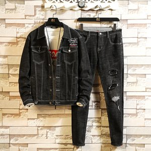 Autumn Tracksuit Men Woman Letter Embroidery Hole Casual Denim Suits Men's Two Piece Sets Turn Down Collar Jacket+Pants Twinsets 1004