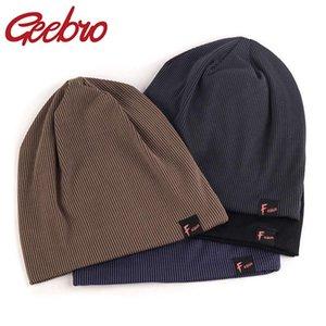 Geebro moda unisex gorritas ocasional de las mujeres Skullies Beanie color sólido con bandas de tejidos Bonnet Sombreros de los hombres del resorte del otoño Gorras
