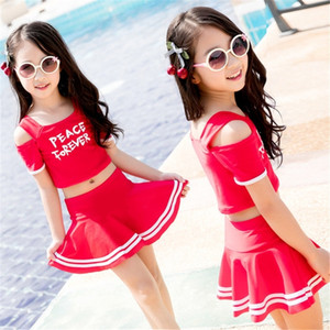 Summer New Pop Girls Swimsuits Children Swimwear Kids Two Pieces Skirted Swimsuit Girls Bikini Beach Wear Bathing Suits Y200829