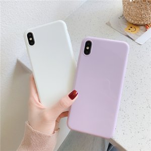 Gimfun Simple Purple White Tpu Phone Case for Iphone 11 ProMax Xs Xr X 6s 7 8Plus Ultra Thin Glossy Solid Tpu Silicon Case Cover