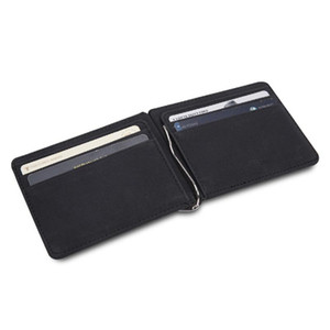 New Men Money Clip Wallet Casual Leather Male Purses Cash Holder Fashion Short Mini Wallets With Metal Clamp ID Case