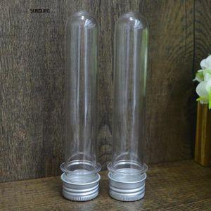20 50pcs lot Clear Plastic Test Tube Stopper 40ml Round Bottom Wedding Favors Tubes TUB