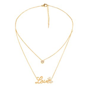 Multi-layer Necklace for Women Fashion Love Letter Chokers Minimalist Stainless Steel Long Gold Necklace Dainty Pendant