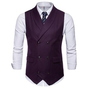 New Style Double-Breasted Vintage Suit Vests for Men Slim Men Gilet Wedding Waistcoats Colete Homem Sleeveless Dress Vests