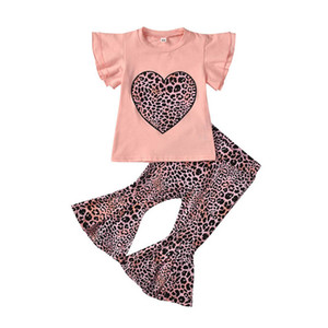 2021 Summer Love leopard girls suits sweet girls outfits short sleeve T shirt+flared trousers 2pcs set kids clothing girls clothes B3662