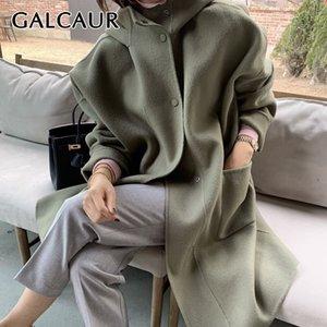 Galcaur de tweed tweed de galcaur para mujer Cuello con capucha Manga larga floja bolsillos sueltos de gran tamaño elegantes abrigos femeninos otoño ropa 201102
