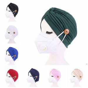 Turban Hat Female Pure Hair Band Hat Button Headband Turbante Headwear Sleep Hat Adult Beadana Hendwarp Chemo Towel Hair Accessories ZZC1189