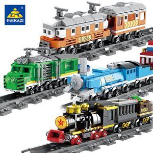 KAZI City Train Track Railway Rail Sets Model Building Blocks Technic Steam Freight Highspeed Train DIY Bricks Toys For Children