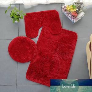 3PCS Bath Mat Toilet Set Seat Cover Non-Slip Shower Floor Washable Bathroom Rugs