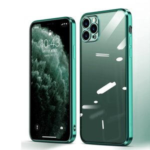 Coque iPhone 12 Pro Max Teléfono Casas de lujo Marco cuadrado Funda transparente para la cubierta iPhone 11 Pro MAX X XS XR 7 8 PLUS SOFT BLEE